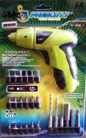 harga Cordless screwdriver prescott (bor tangan pembuka baut) Tokopedia.com