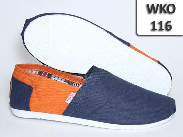 WAKAI Shoes Pria Casual Flatshoes Sepatu Flat WKO-116 Biru Orange Cowo 19935ead9c