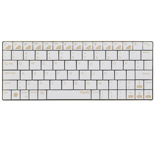 Rapoo E6300 Ultra-Slim Keyboard Bluetooth and Rechargeable - Gold.