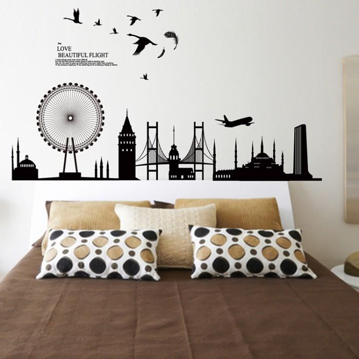 jual wall sticker 60x90/wallstiker transparan-jm7279- black urban