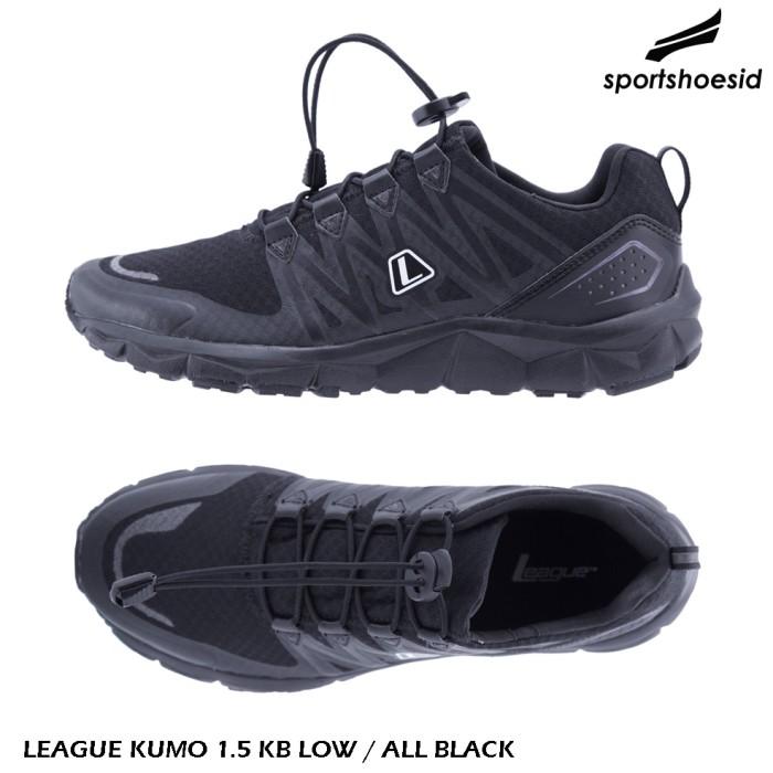 Jual ORIGINAL LEAGUE KUMO 1.5 KB LOW   ALL BLACK   SEPATU LARI ... 7662dccdfa