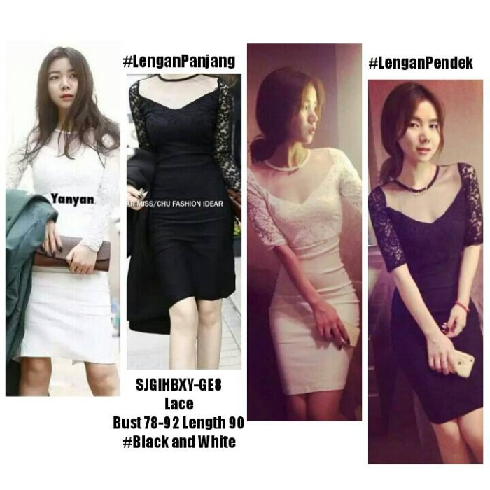 harga Sjgihbxy dress lace dress brukat dress hitam polos dress putih elegan Tokopedia.com