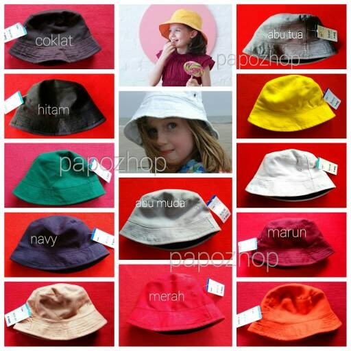 Topi bucket hat anak polos bolak balik 2 warna warni tebal premium e61e85ce8d