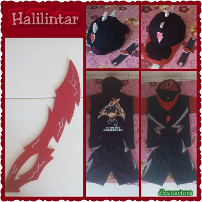Topi Gelang Pedang Baju Kostum - BoboiBoy Halilintar - Dhana Store  aff739b033