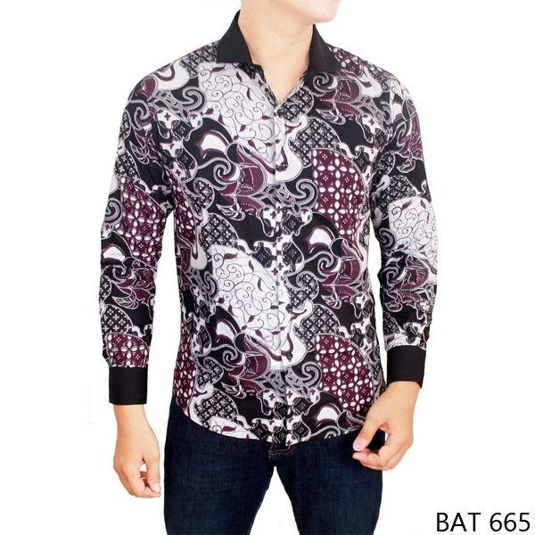 Jual model baju batik pria slim fit katun kombinasi bat 665 cek ... 76552294e0