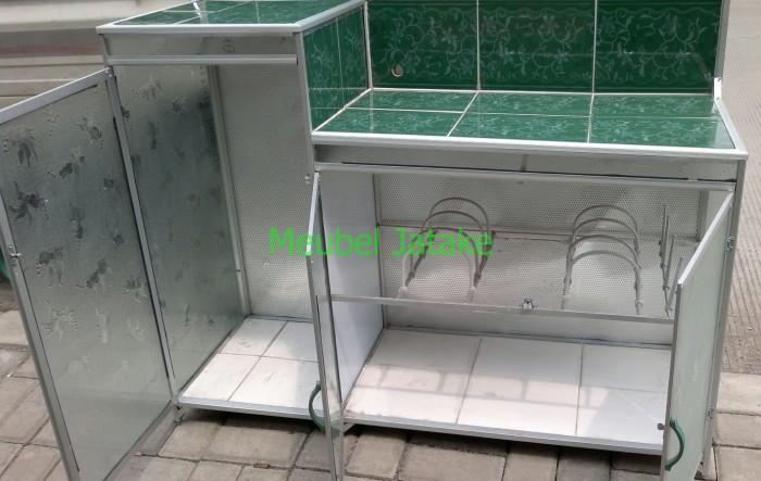 Meja Dapur Kompor 3 Pintu Rak Piring Model L Keramik Aluminium