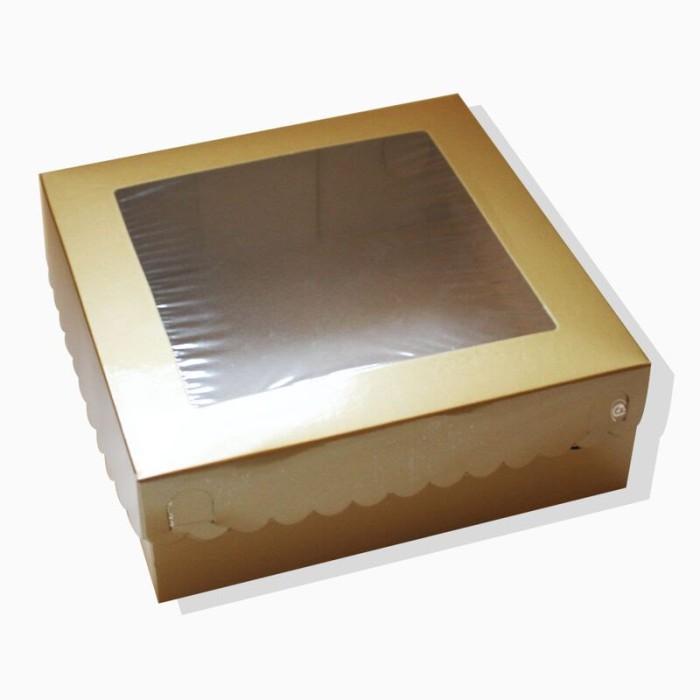 Foto Produk Dus Kue Emas 22 x 22 x 8 dari PackeriePack Dus & Kotak