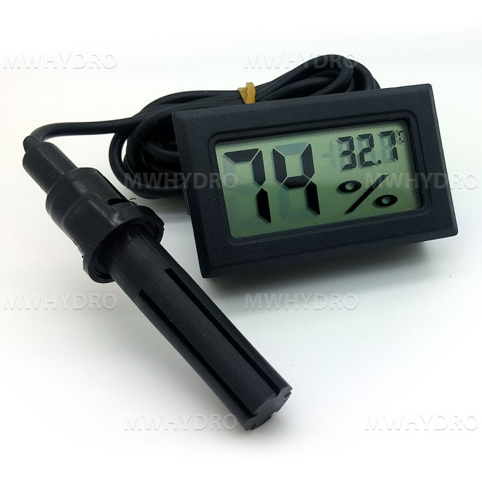 Foto Produk Mini Digital Thermometer & Hygrometer with Probe - Hitam dari MW Hydro