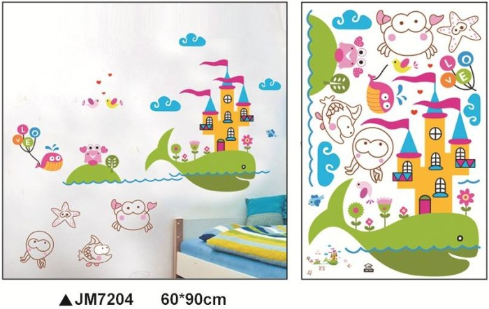 jual wallsticker hewan laut murah 60x90, stiker dinding rumah lucu
