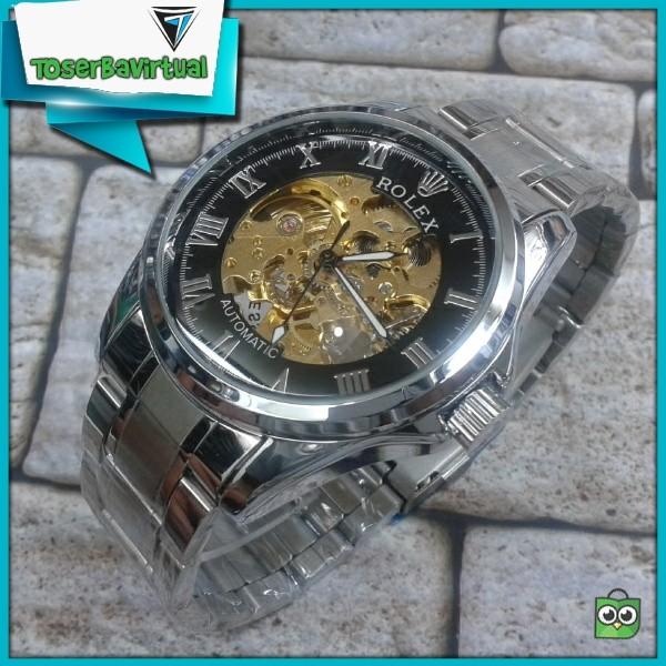 Jual Jam Tangan Rolex Pria Automatic Transparan Unik Rantai Hitam ... c5ba29a56a