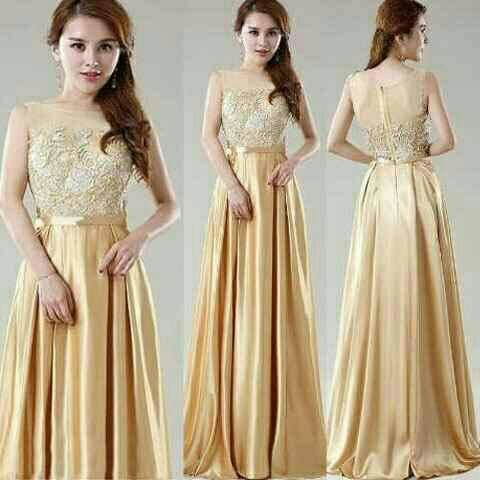 Jual Baju Dress Maxi Longdress Gaun China Elegant Gold Gaun Pesta