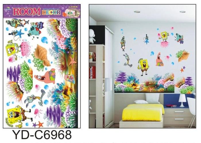 jual wallsticker spongebob 3d murah 60x90, stiker dinding rumah lucu