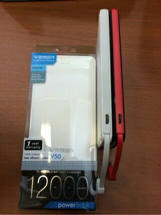 Powerbank VEGER V50 12000mAh slim Original Garansi 1 tahun