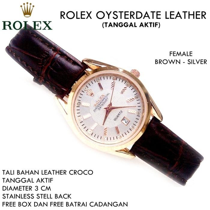 harga Jam tangan kulit croco rollex oysterdate 3cm wanita brown silver Tokopedia.com