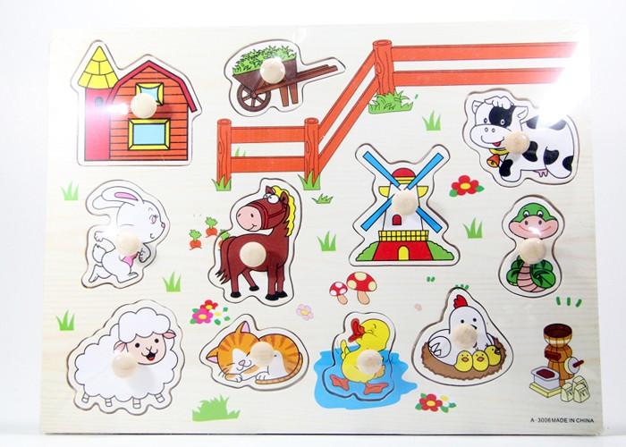 Foto Produk Puzzle Kayu Pin Knob Knop Peternakan Mainan Edukasi Anak PP-001 dari Kid Smart