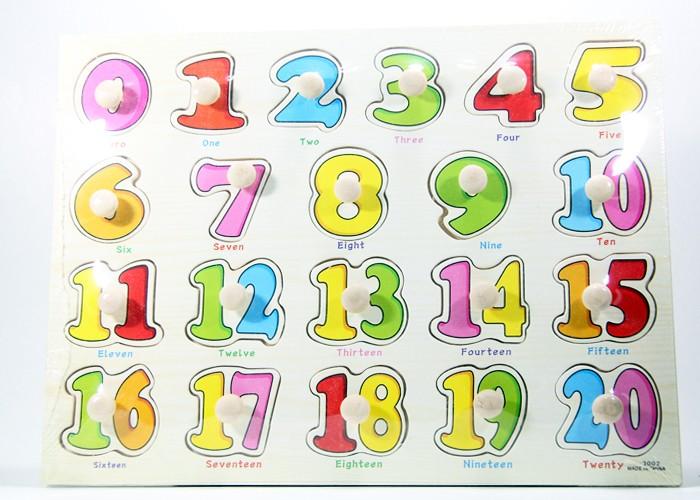 Foto Produk Puzzle Kayu Pin Knob Knop Angka 1 - 20 Mainan Edukasi Anak PP-012 dari Kid Smart