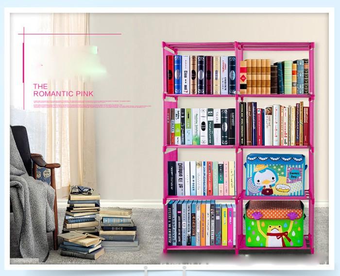 harga Rak buku double book shelf pajang cabinet baju pakaian 8 lubang Tokopedia.com