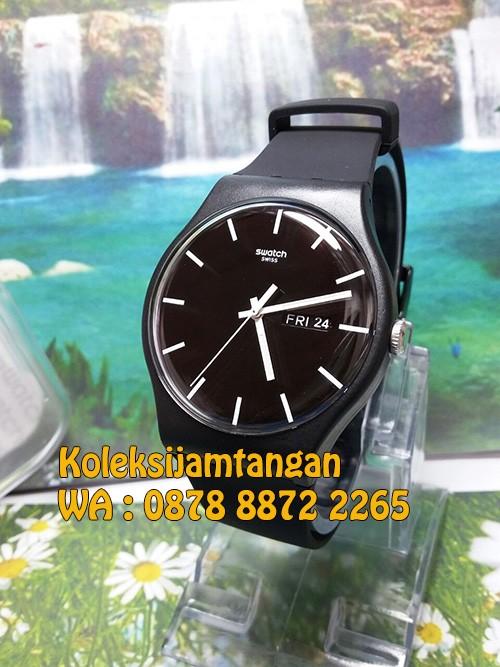 Jam tangan pria swatch suob720 hitam original garansi resmi