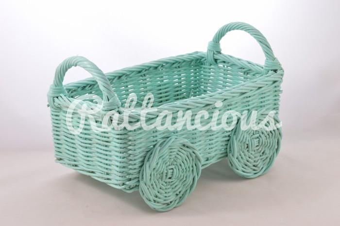 harga Keranjang Rotan Kereta Roda 4 Elegan Mint Tokopedia.com