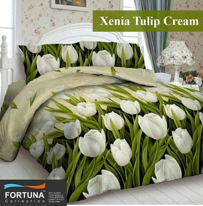harga Sprei katun fortuna xenia tulip cream ukuran 180x200 Tokopedia.com