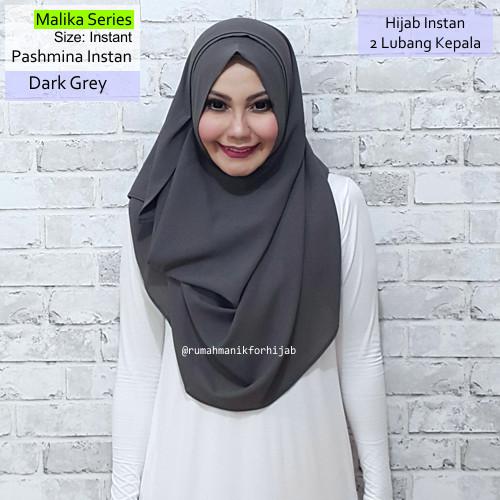 jual pashmina instan malika series dark grey | hijab vanilla ghaida
