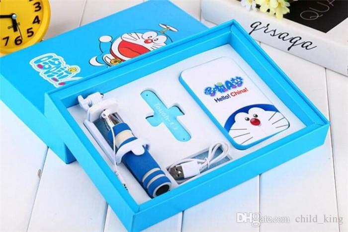 Paket Kado Satu Set Power Bank Doraemon Tongsis dan Touch u