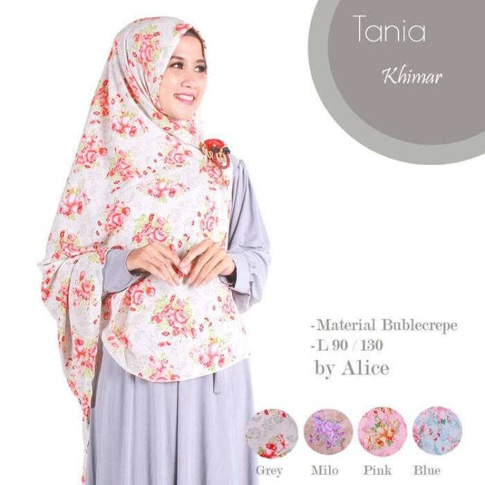 Jilbab motif bunga tania khimar matt bublecrepe pj 90/130