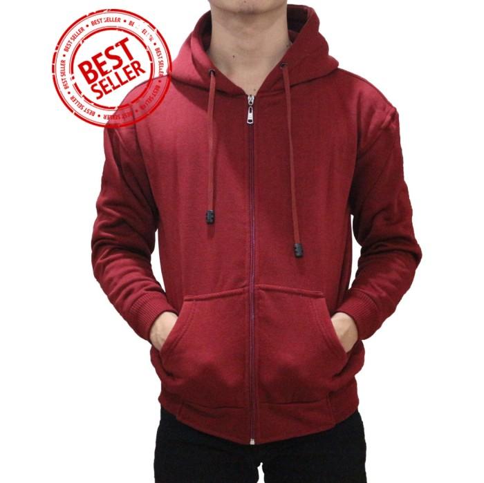 Jaket Sweater Hoodie Polos Zipper Merah Maroon - Abu -abu Tua, M