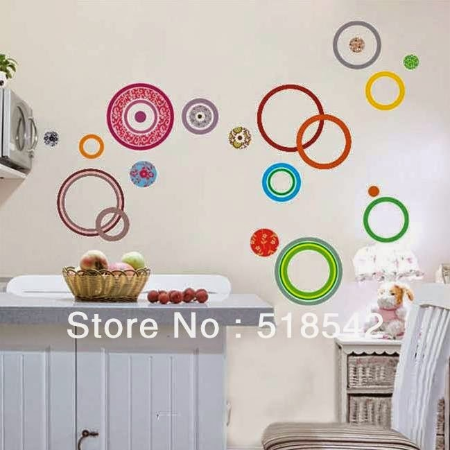 jual wall sticker ay9049 circle motif stiker dinding uk 60x90 - kota