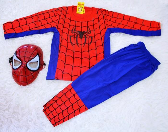 Baju anak kostum topeng superhero spaiderman lengkap atas bawah+topeng