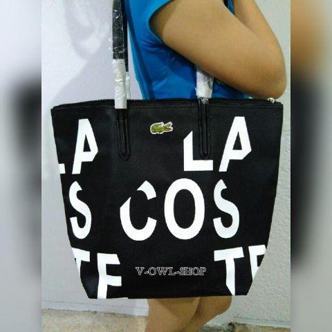 LACOSTE VERTICAL Bag Motif Tulisan HITAM (GOOD QUALITY)