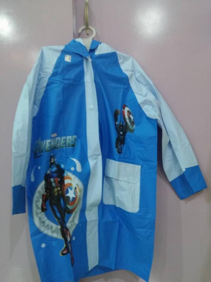 Jas hujan anak karakter model terusan (ada tas) captain america/aveng