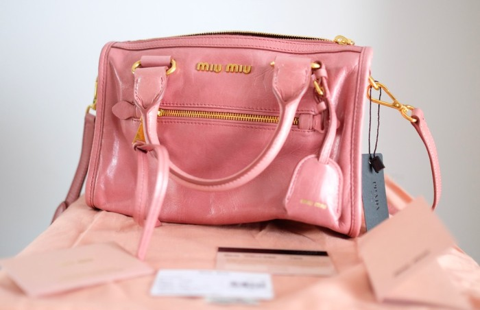 49e769e3c78a Jual Tas Miu Miu Handbag Bauletto Loto Vitello Shine Pink 100% New ...