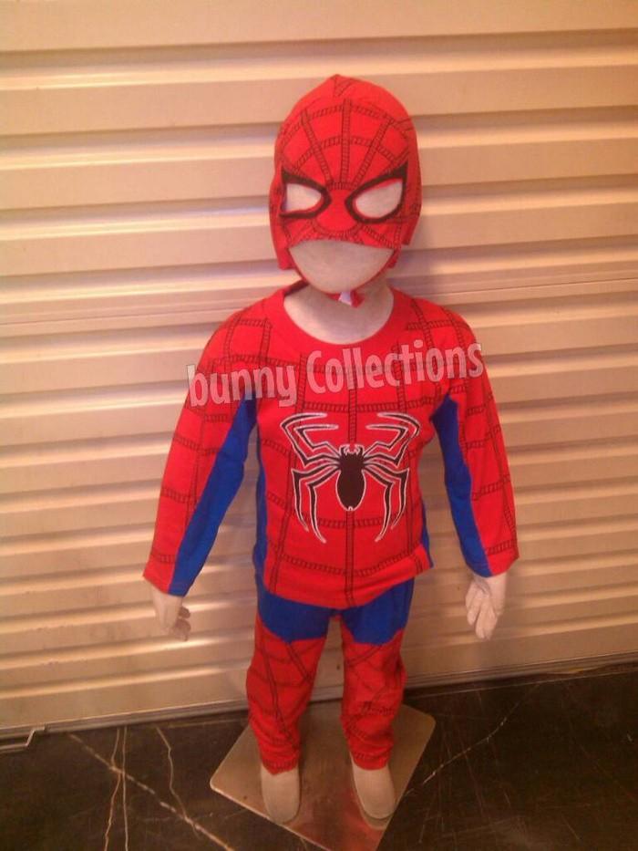 Baju anak laki-laki spiderman anak + topeng  stelan superhero anak