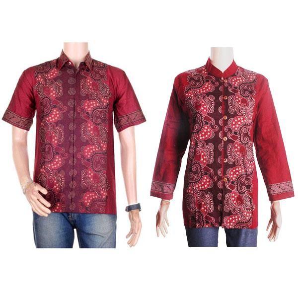 harga Sarimbit/couple batik kemeja-blus sabrina (sepasang) - merah Tokopedia.com
