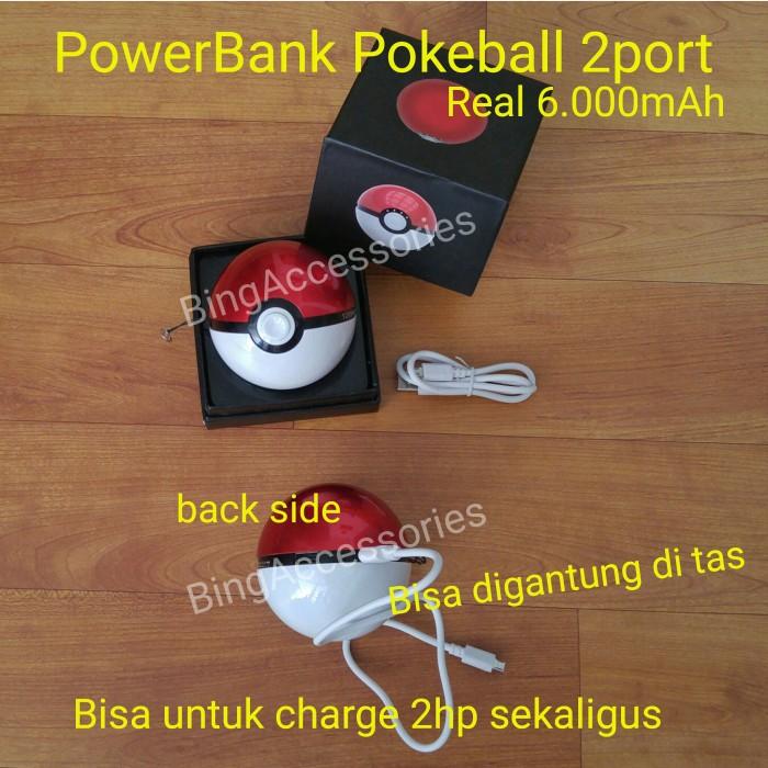 harga Powerbank pokemon pokeball 2 port usb 6.000mah ( karakter pikachu ) Tokopedia.com
