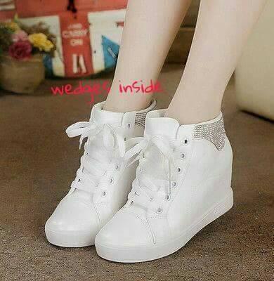 harga Sneakers wedges boots wanita / sepatu kets putih bling / sepatu murah Tokopedia.com