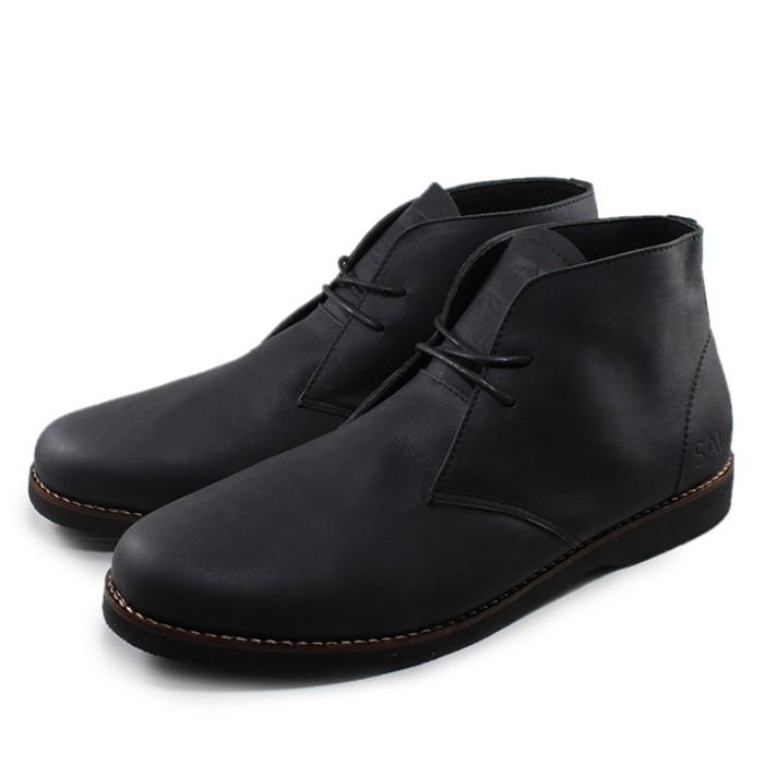 Foto Produk Sauqi Chukka Hitam Sepatu Pria Kulit Asli Casual Formal Boots dari Juragan Sepatu Bagus