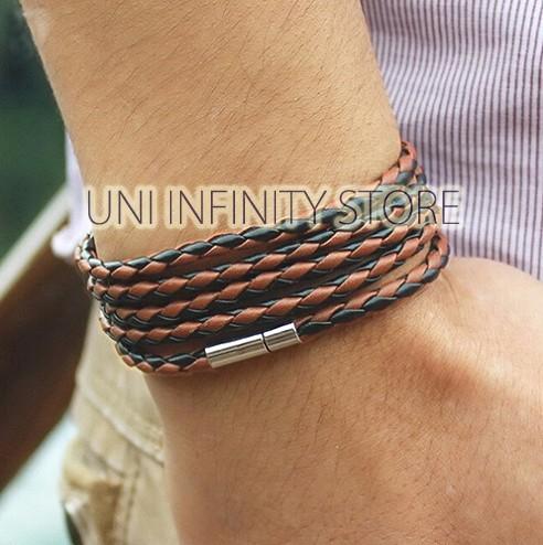 harga Jwlb0138m gelang kulit lilit 5 magnet black brown leather bracelet Tokopedia.com