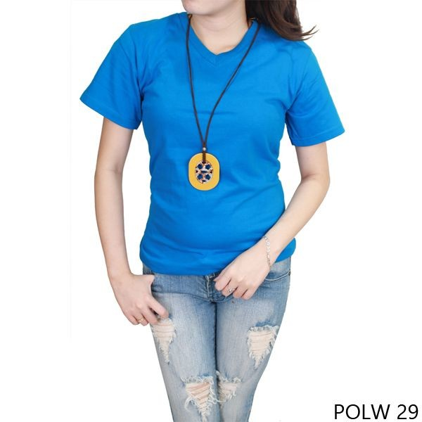 T-shirt wanita 100% cotton pique turkish tua  polw 29 - biru s