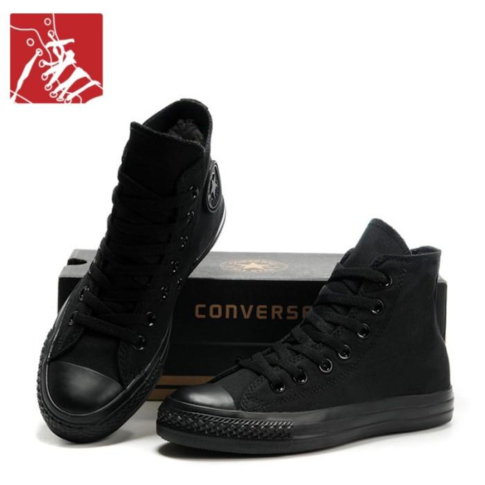 Jual Sepatu Converse All Star Hight Full Hitam Sepatu All Star 31469a904c