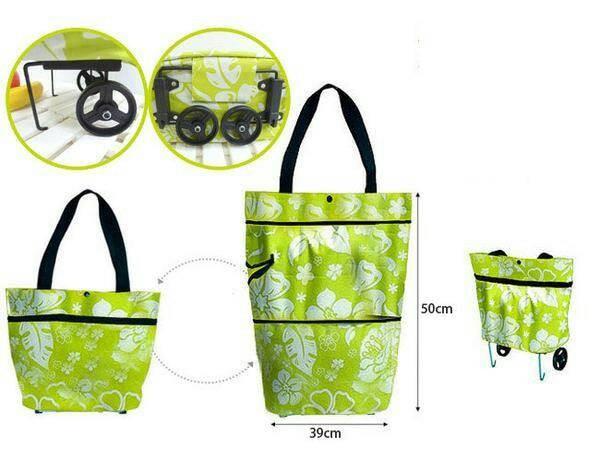 harga Tas troli lipat bunga foldable shopping trolley bag flower dengan roda Tokopedia .