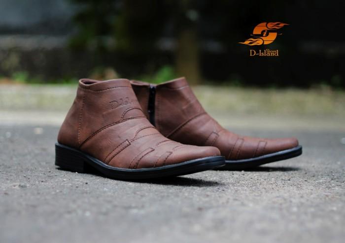 Foto Produk D-Island Shoes Slip On Zipper Office Bussnes Mens High Brown dari D-island Shoes