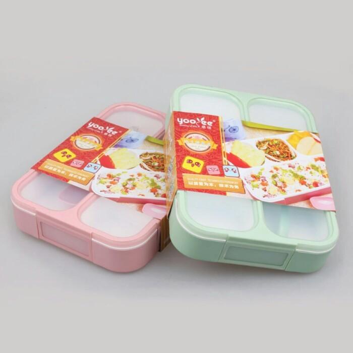 Lunch box/kotak makan/tempat makan sekat 4in1/yooyee grid leak proof
