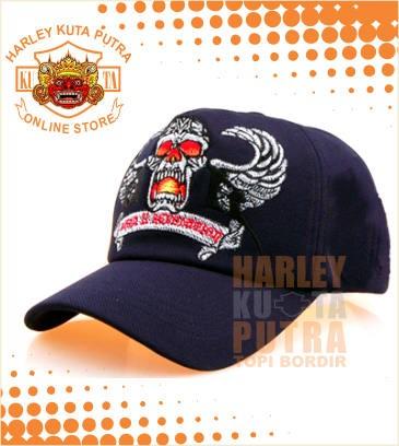 1857f1070e8fd Jual Topi Harley Davidson bordir Dark Skull model Baseball warna ...