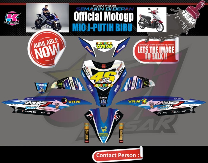 Sticker striping mio j full body vr 46 biru putih