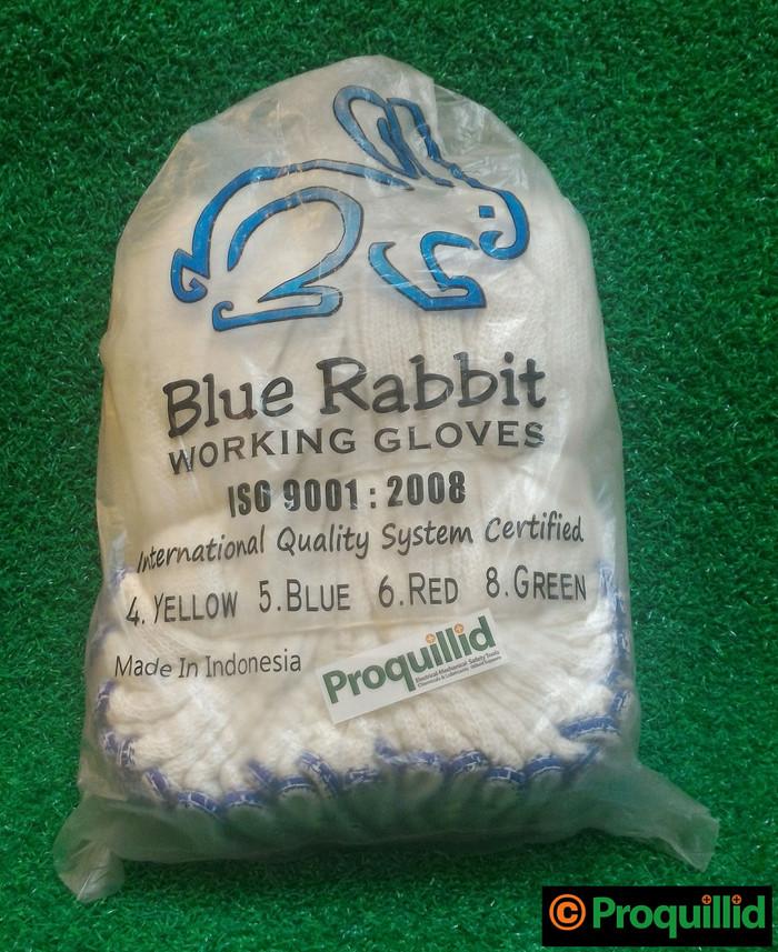 harga Sarung tangan kain rajut katun / cotton benang 5 (1 lusin) blue rabbit