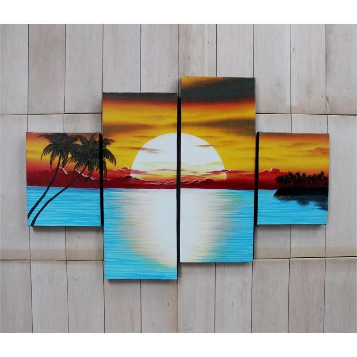 harga Lukisan pantai sunset set minimalis Tokopedia.com
