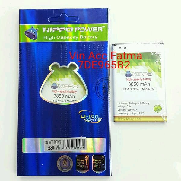 harga Hippo baterai samsung galaxy note3 neo(n750)/garansi resmi hippo Tokopedia.com