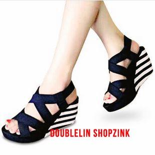 harga Sepatu wedges q01 belang wanita elegan cantik hitam putih grosir lucu Tokopedia.com
